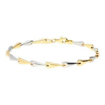 9ct Yellow & White Gold Fancy Chevron Link Bracelet