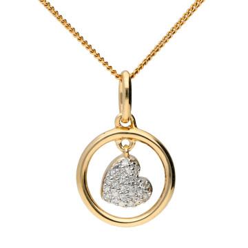 9ct Yellow Gold & Diamond Swinging Heart Pendant
