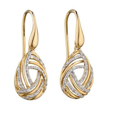 9ct Yellow Gold & Diamond Fancy Drop Earrings