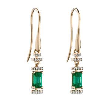 9ct Yellow Gold Emerald & Diamond Deco Earrings