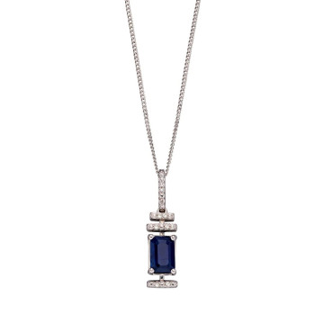 9ct White Gold Sapphire & Diamond Deco Pendant