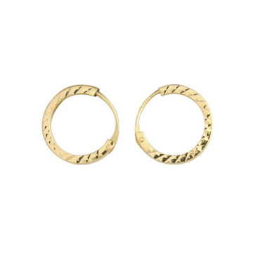 9ct Yellow Gold 12mm Diamond Cut Sleeper Hoop Earrings