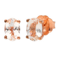 9ct Rose Gold 6mm Morganite Solitaire Oval Shape Stud Earrings
