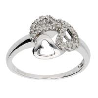 9ct White Gold 0.12ct Diamond Heart Ring