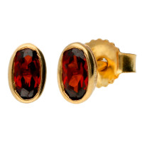 9ct Yellow Gold 0.50ct Oval Garnet Rub Over Solitaire Stud Earrings