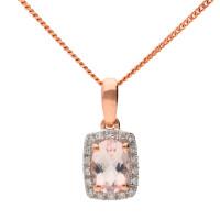 9ct Rose Gold Morganite & Diamond Pendant