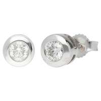 9ct White Gold 0.40ct Diamond Solitaire Collet Earrings