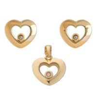 9ct Yellow Gold Floating Diamond Pendant & Stud Earring Set