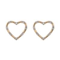 9ct Yellow Gold Diamond Heart Earrings