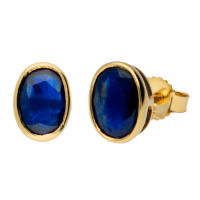 9ct Yellow Gold 7mm Oval Sapphire Solitaire Stud Earrings