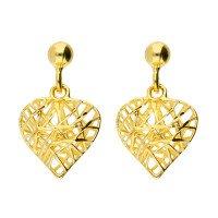 9ct Yellow Gold Heart Drop Earrings