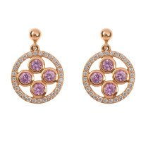 18ct Rose Gold 0.98ct Pink Sapphire & 0.42ct Diamond Trefoil Cluster Drop Earrings