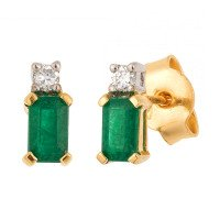 18ct Yellow & White Gold 5mm Emerald & Diamond Rectangular Shape Stud Earrings