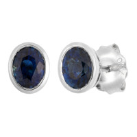 18ct White Gold 5mm Sapphire Solitaire Oval Shape Stud Earrings