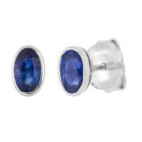 18ct White Gold 0.65ct Oval Sapphire Solitaire Stud Earrings