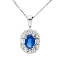 18ct White Gold 0.60ct Sapphire & Diamond Pendant