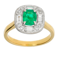 18ct Yellow & White Gold Emerald & Diamond Cluster Ring