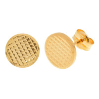 18ct Yellow Gold Pattern Engraved Disc Stud Earrings