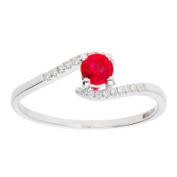 18ct White Gold 0.30ct Ruby & Diamond Crossover Ring