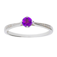 18ct White Gold 0.23ct Amethyst & Diamond Ring