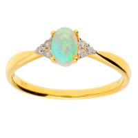 18ct Yellow Gold 0.35ct Opal & Diamond Ring