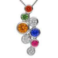 18ct White Gold 0.40ct Rainbow Sapphire & 0.15ct Diamond Bubble Pendant