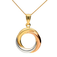 9ct Rose, Yellow & White Gold Entwining Circles Pendant