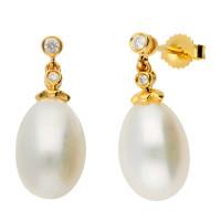 18ct Gold Freshwater Pearl & Diamond Drop Earrings