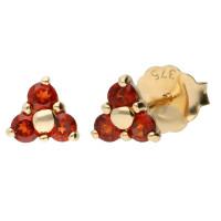 9ct Yellow Gold Garnet Trefoil Cluster Stud Earrings