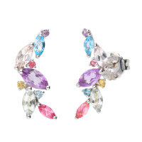 9ct White Gold Multi-Gem Fancy Earrings
