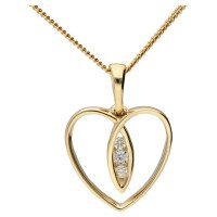 9ct Gold Diamond Heart Pendant