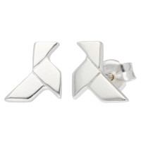 18ct White Gold Origami Bird Stud Earrings