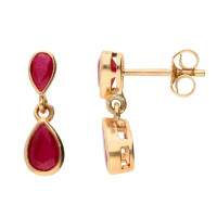 9ct Yellow Gold Ruby Double Drop Pear Shape Earrings