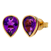 9ct Yellow Gold 7mm Amethyst Solitaire Pear Shape Stud Earrings