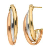 9ct Rose, White & Yellow Gold 21mm Creole Earrings