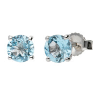 9ct White Gold 5mm Aquamarine Solitaire Round Shape Stud Earrings