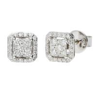 18ct White Gold 0.22ct Diamond Cluster Earrings
