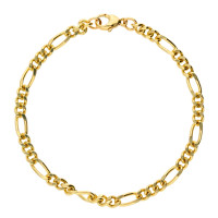 9ct Yellow Gold 4.52mm Filed Figaro Chain Bracelet