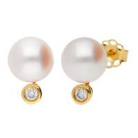 18ct Gold 7mm Akoya Pearl & Diamond Earrings