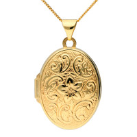 9ct Yellow Gold Flower Oval Locket