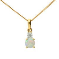 9ct Yellow Gold Opal & Diamond Pendant