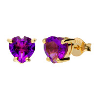 9ct Yellow Gold Heart 1.65ct Amethyst Solitaire Stud Earrings