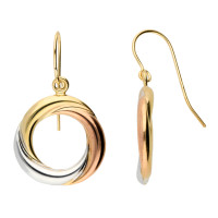 9ct Rose White & Yellow Gold Circle Drop Earrings