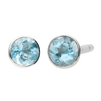 9ct White Gold 0.30ct Round Aquamarine Solitaire Stud Earrings