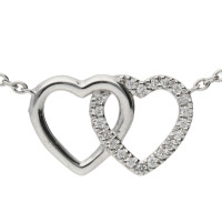 18ct White Gold 0.05ct Diamond Double Heart Necklace