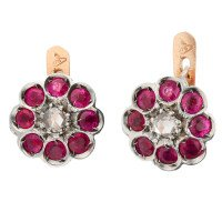 Handcrafted Italian Ruby & Diamond Floral Cluster Earrings