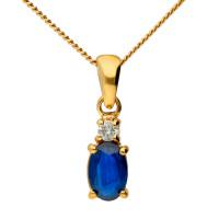 9ct Yellow Gold 6mm Sapphire & Diamond Oval Pendant