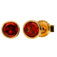 9ct Yellow Gold 4mm Garnet Solitaire Round Shape Stud Earrings