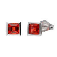 18ct White Gold 0.80ct Square Garnet Solitaire Stud Earrings