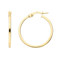 9ct Yellow Gold 24mm Square Edge Hinged Hoops